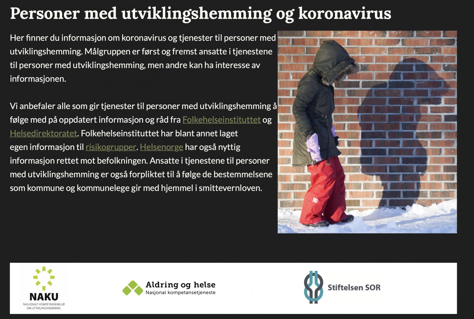 Nettside Om Personer Med Utviklingshemming Og Koronavirus Naku